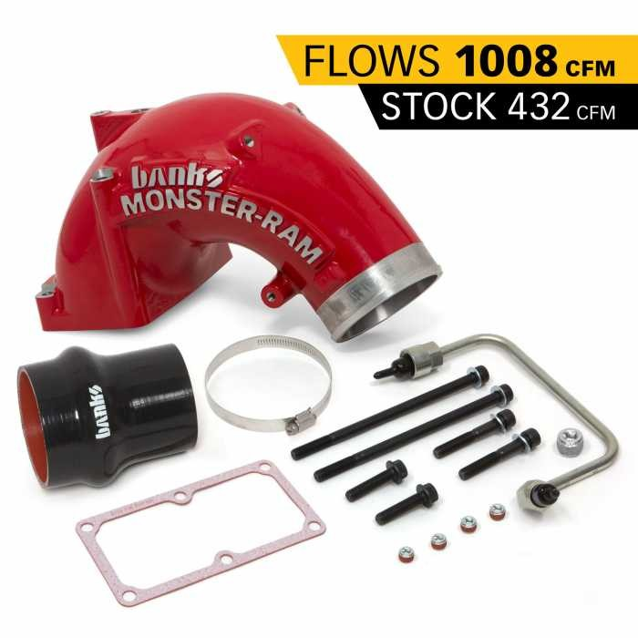 Banks Monster-Ram Intake Sys w/Fuel Line and 4 to 3.5 Hump Hose- 2007-17 Dodge/RAM 6.7L, 4.0, Red